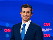 "14 JANUARY 2020 - DES MOINES, IOWA: Former Mayor PETE BUTTIGIEG on stage during the ""photo spray"" at the CNN Democratic Presidential Debate on the campus of Drake University in Des Moines. This is the last debate before the Iowa Caucuses on Feb. 3.    PHOTO BY JACK KURTZ"