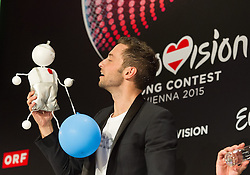 23.05.2015, Stadthalle, Wien, AUT, Eurovision Songcontest Vienna 2015, Pressekonferenz des Gewinners, im Bild Song Contest Sieger Mans Zelmerlöw aus Schweden // Song Contest Winner Mans Zelmerlöw from Sweden during winners press conference of the grand final for Eurivision Songcontest Vienna 2015 at Stadthalle in Vienna, Austria on 2015/05/23, EXPA Pictures © 2015, PhotoCredit: EXPA/ Michael Gruber