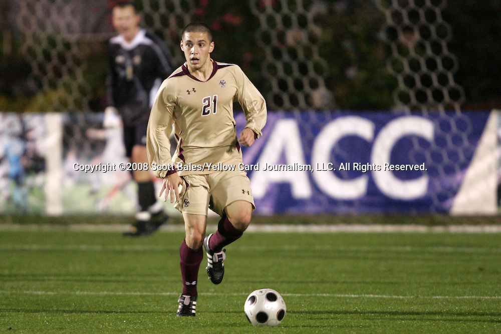 14 November 2008: Boston College's Mike Konicoff. The University of Maryland defeated Boston College 1-0 at WakeMed Stadium at WakeMed Soccer Park in Cary, NC in a men's ACC tournament semifinal game.