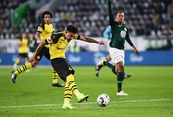 WOLFSBURG, Nov. 4, 2018  Dortmund's Jadon Sancho shoots during a German Bundesliga match between VfL Wolfsburg and Borussia Dortmund in Wolfsburg, Germany, on Nov. 3, 2018. Dortmund won 1-0. (Credit Image: © Xinhua via ZUMA Wire)