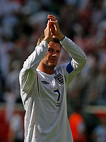 Photo: Glyn Thomas.<br />England v Paraguay. Group B, FIFA World Cup 2006. 10/06/2006.<br /> David Beckham applauds England's fans.