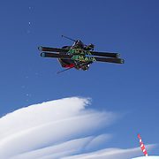 Taylor Seaton, USA, during his winning run in the Men's Halfpipe Finals during The North Face Freeski Open at Snow Park, Wanaka, New Zealand, 3rd September 2011. Photo Tim Clayton...