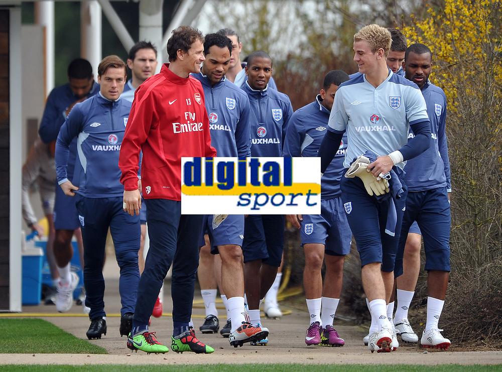 Football - England Training<br /> Arsenal's emergency goal keeper Jens Lehman chats to Joe Hart of England at London Colney, UK