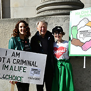 Lord Alf Dubs and Bronagh Waugh is a Northern Irish actress star in Hollyoaks join London-Irish Abortion Rights Campaign join The colourful St Patrick Parade days 2017 was watched by thousands who line up the streets from Piccadilly to Trafalgar Square where speeches were made and a show with music and dane was given to the thousands who packed the square to celebrate St Patrick day 2019 on 17 March 2019, London, UK.