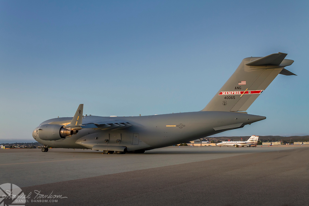 Boeing C-17A Globemaster III on the ramp in the evening at MRY, Monterey, California