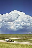 Cumulonimbus thunderhead developing over the Wyoming plains along I-25