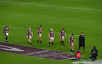 Rugby Union - 2020 / 2021 European Rugby Challenge Cup - Final - Leicester Tigers vs Montpellier - Twickenham<br /> <br /> Leicester Tigers players dejected as they collect their medals.<br /> <br /> COLORSPORT/ASHLEY WESTERN