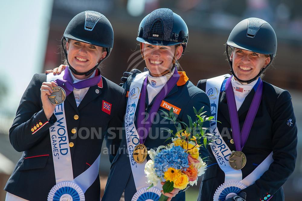L-R Silver medalist Natasha Baker (GBR), Gold medalist Rixt van der Horst (NED) & Bronze medalist Rebecca Hart (USA) - Para Dressage Individual - FEI World Equestrian Games™ Tryon 2018 - Tryon, North Carolina, USA - 19 September 2018