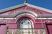 """Exterior of the Magic Lantern cinema - formerly known as the Assembly Rooms (1893), on 12th September 2018, in Tywyn, Gwynedd, Wales. The Magic Lantern Cinema has shown films right at the start of Cinema in the UK, 9 years earlier than any other operating Cinema in the Britain. It was re-christened as """"The Assembly Cinema"""" after World War 1 and subsequently as 'The Ritzy', 'Tywyn Cinema' and now, as a nod to it's historic past, 'The Magic Lantern'."""