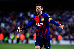 March 30, 2019 - Barcelona, BARCELONA, Spain - 10 Leo Messi of FC Barcelona celebrating his goal during the ''Derby'' of La Liga match between FC Barcelona and RCD Espanyol in Camp Nou Stadium in Barcelona 30 of March of 2019, Spain. (Credit Image: © AFP7 via ZUMA Wire)