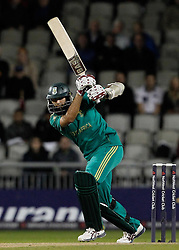 South Africa's Hashim Amla plays a stroke during the NatWest International T20 match at Old Trafford, Manchester.