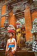 INDONESIA, BALI, CEREMONIES women bringing offerings of food and  flowers for their gods at their village  temple