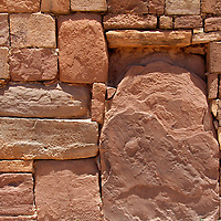 South America, Bolivia, Tiwanaku. Kalasasaya Temple Wall at Pre-Columbian archaeological site of Tiwanaku, a UNESCO World Heritage Site.