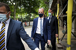 © Licensed to London News Pictures. 17/08/2021. London, UK. Foreign Secretary DOMINIC RAAB is seen in Westminster, London after media interviews. Parliament is to be recalled on Wednesday following the Taliban's advancement on to Kabul. Large parts of Afghanistan have been reclaimed by the Taliban after U. S troops withdrew from the country. Photo credit: Ben Cawthra/LNP