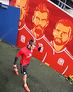 Gareth Bale of Wales admires the artwork as he arrives for  the Wales football team training at the Cardiff city Stadium in Cardiff , South Wales on Saturday 8th October 2016, the team are preparing for their FIFA World Cup qualifier home to Georgia tomorrow. pic by Andrew Orchard, Andrew Orchard sports photography