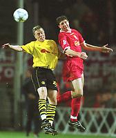 Fotball: UEFA Champions League 2001/2002. v.l. Jan Derek SØ…RENSEN, Gregory VIGNAL Liverpool<br />Champions League   <br />Borussia Dortmund - FC Liverpool 0:0