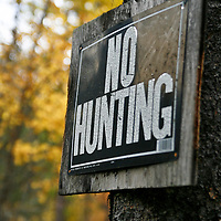 A No Hunting sign warns the public away from trespassing onto private land in Montana