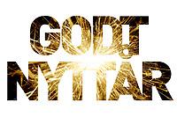 Godt nytt år-hilsen i form av fyrverkeribilde i tekst. Det er tillatt å skrive både «Godt nytt år» og «Godt nyttår». Hva man velger blir personlig preferanse.