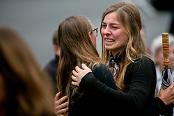 April 29, 2019 - Poway, California, U.S. - Mourners gather outside of Chabad of Poway for a memorial service for Lori Gilbert-Kaye. Gilbert-Kaye was killed on Saturday when a gunman opened fire inside the synagogue.  (Credit Image: © Sam Hodgson/TNS via ZUMA Wire)