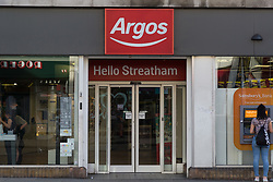 A general view of Argos on Streatham High Road where Lance, a 17-year-old was unable to purchase a knife in an attempt to illustrate the extent of knife control and age checking in London stores. Streatham, London, August 30 2019.
