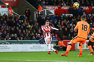 Xherdan Shaqiri of Stoke City crosses the ball. Premier league match, Stoke City v Liverpool at the Bet365 Stadium in Stoke on Trent, Staffs on Wednesday 29th November 2017.<br /> pic by Chris Stading, Andrew Orchard sports photography.