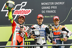20.05.2012, Bugatti Grand Prix Race Circuit, Le mans, FRA, MotoGP, Monster Energy Grand Prix de France, im Bild V. Rossi, J. Lorenzo, C. Stoner // during Monster Energy Grand Prix de France of FIA MotoGP series at Bugatti Grand Prix Race Circuit, Le mans, France on 2012/05/20. EXPA Pictures © 2012, PhotoCredit: EXPA/ Insidefoto/ Semedia..***** ATTENTION - for AUT, SLO, CRO, SRB, SUI and SWE only *****