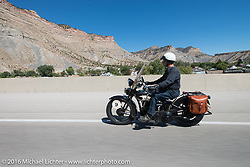John Stanley riding his 1933 Harley-Davidson VLE during stage 11 (289 miles) of the Motorcycle Cannonball Cross-Country Endurance Run, which on this day ran from Grand Junction, CO to Springville, UT., USA. Tuesday, September 16, 2014.  Photography ©2014 Michael Lichter.