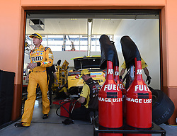 September 14, 2018 - Las Vegas, NV, U.S. - LAS VEGAS, NV - SEPTEMBER 14: Monster Energy NASCAR Cup Series driver Kyle Busch (18) Joe Gibbs Racing (JGR) Toyota Camry walks from his garage following the first practice session for the South Point 400 Monster Energy NASCAR Cup Series Playoff Race on September 14, 2018, at Las Vegas Motor Speedway in Las Vegas, NV. (Photo by Will Lester/Icon Sportswire) (Credit Image: © Will Lester/Icon SMI via ZUMA Press)