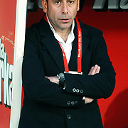 Istanbul BBSpor's coach Abdullah AVCI during their Turkish soccer superleague match Istanbul BBSpor between Galatasaray at the Ataturk Olympic stadium in Istanbul Turkey on Saturday 01 May 2010. Photo by TURKPIX