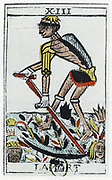 Tarot Card of Death, the grim reaper. Noblet tarot, 17th century. Tarot pack of 22 cards was used in fortune telling.
