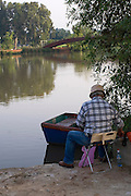 peaceful Fishing in a river