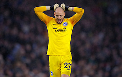 Brighton & Hove Albion goalkeeper David Button rues a missed opportunity by his team during the second half