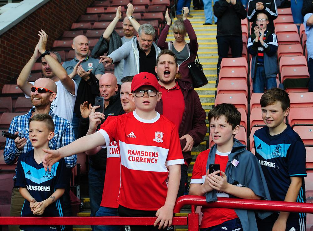 Middlesbrough fans enjoy the pre-match atmosphere <br /> <br /> Photographer Chris Vaughan/CameraSport<br /> <br /> The EFL Sky Bet Championship - Barnsley v Middlesbrough - Saturday 14th October 2017 - Oakwell - Barnsley<br /> <br /> World Copyright © 2017 CameraSport. All rights reserved. 43 Linden Ave. Countesthorpe. Leicester. England. LE8 5PG - Tel: +44 (0) 116 277 4147 - admin@camerasport.com - www.camerasport.com