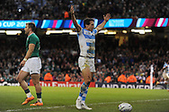 Juan Imhoff of Argentina celebrates after he scores his late 2nd half try.  Rugby World Cup 2015 quarter-final match, Ireland v Argentina at the Millennium Stadium in Cardiff, South Wales  on Sunday 18th October 2015.<br /> pic by  Andrew Orchard, Andrew Orchard sports photography.