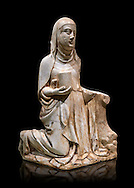 Gothic marble statue of Mary Magdelane (Magdelena) by Mestre de Pedralbes of Barcelona, 2nd half of 14th Century, from the cemetery of the cathedral of Barcelona.  National Museum of Catalan Art, Barcelona, Spain, inv no: MNAC  9797. Against a black background. .<br /> <br /> If you prefer you can also buy from our ALAMY PHOTO LIBRARY  Collection visit : https://www.alamy.com/portfolio/paul-williams-funkystock/gothic-art-antiquities.html  Type -     MANAC    - into the LOWER SEARCH WITHIN GALLERY box. Refine search by adding background colour, place, museum etc<br /> <br /> Visit our MEDIEVAL GOTHIC ART PHOTO COLLECTIONS for more   photos  to download or buy as prints https://funkystock.photoshelter.com/gallery-collection/Medieval-Gothic-Art-Antiquities-Historic-Sites-Pictures-Images-of/C0000gZ8POl_DCqE