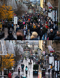 Glasgow, Scotland, UK. 21 November 2020. Two images of Buchanan Street both taken at 1pm on Friday before lockdown and Saturday after lockdown showing the busy Christmas shopping street compared to empty street when shops are close. Iain Masterton/Alamy Live News