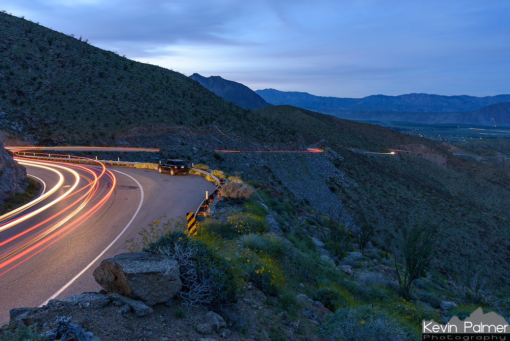 Montezuma Valley Road is the steep, winding highway that leads to Borrego Springs. After shooting the sunset from this pullout I waited until it was dark enough to take a long exposure. With cars both coming up and going down the mountain this was my favorite frame.