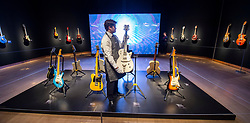 David Gilmour Guitar Collection<br /> Press view<br /> <br /> The Fred Gretsch manufacturing company Brooklyn 1958 a solid body electric guitar white Penguin 6134 estimated $150,000<br /> <br /> The personal guitar collection of rock'n'roll legend David Gilmour, guitarist, singer and songwriter of Pink Floyd is unveiled at Christies, London, Great Britain <br /> 27th March 2019<br /> <br /> For the very first time, Christie's will unveil the much-anticipated preview of the personal guitar collection of rock'n'roll legend David Gilmour, guitarist, singer and songwriter of Pink Floyd, to media on Wednesday 27 March at 9.30am. The first stop for the pre-sale touring exhibition, the view will provide a once in a lifetime opportunity to see the 120+ guitar highlights being sold,<br /> with proceeds to benefit charity.<br />  <br /> The exhibition will be on view to the public from 27 to 31 March 2019. Entry will be free, with timed-tickets.<br /> <br /> Photograph by Elliott Franks