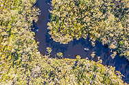 Aerial view of a small boat on the Upper Noosa River, Cooloola Recreation Area, Great Sandy National Park, Sunshine Coast, Queensland, Australia
