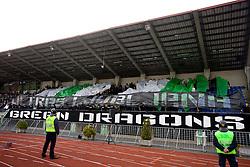 Green Dragons, fans of Olimpija at 13th Round of Prva Liga football match between NK Olimpija and Maribor, on October 17, 2009, in ZAK Stadium, Ljubljana. Maribor won 1:0. (Photo by Vid Ponikvar / Sportida)