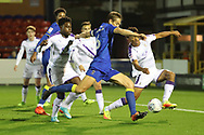AFC Wimbledon defender Paul Robinson (6) with a shot on goal during the EFL Trophy match between AFC Wimbledon and Luton Town at the Cherry Red Records Stadium, Kingston, England on 31 October 2017. Photo by Matthew Redman.