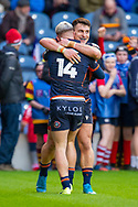 Darcy Graham (#14) of Edinburgh Rugby is congratulated by George Taylor (#12) of Edinburgh Rugby after he scores his first try during the European Rugby Challenge Cup match between Edinburgh Rugby and SU Agen at BT Murrayfield, Edinburgh, Scotland on 18 January 2020.