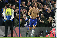 David Luiz of Chelsea gives his shirt to a  fan after the final whistle. Premier league match, Chelsea v Tottenham Hotspur at Stamford Bridge in London on Saturday 26th November 2016.<br /> pic by John Patrick Fletcher, Andrew Orchard sports photography.