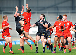 Josh Caulfield of Exeter Braves and Tom Whiteley of Saracens Storm competes for the highball- Mandatory by-line: Nizaam Jones/JMP - 22/04/2019 - RUGBY - Sandy Park Stadium - Exeter, England - Exeter Braves v Saracens Storm - Premiership Rugby Shield