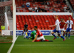 Tyler Walker of Nottingham Forest scores his sides first goal - Mandatory byline: Jack Phillips / JMP - 07966386802 - 11/08/15 - FOOTBALL - The City Ground - Nottingham, Nottinghamshire - Nottingham Forest v Walsall - Football League Cup Round 1