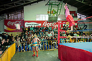 Alicia Flores female wrestler in the ring climbing on the ropes and signalling to crowd, with male opponent out of the ring, crowd in background. Lucha Libre wrestling origniated in Mexico, but is popular in other latin Amercian countries, including in La Paz / El Alto, Bolivia. Male and female fighters participate in the theatrical staged fights to an adoring crowd of locals and foreigners alike.