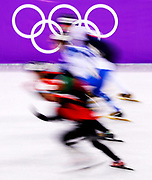 Heat 6 of the Men's 500 meter during the Men's Short Track Speed Skating 500m Heats on day eleven of the PyeongChang 2018 Winter Olympic Games at Gangneung Ice Arena on February 20, 2018 in Gangneung, South Korea.