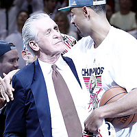 21 June 2012: Team President Pat Riley celebrates with Miami Heat power forward Juwan Howard (5) after the Miami Heat 121-106 victory over the Oklahoma City Thunder, in Game 5 of the 2012 NBA Finals, at the AmericanAirlinesArena, Miami, Florida, USA. The Miami Heat wins the series 4-1.