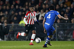 (L-R), Steven Bergwijn of PSV, Dirk Marcellis of PEC Zwolle during the Dutch Eredivisie match between PSV Eindhoven and PEC Zwolle at the Phillips stadium on February 03, 2018 in Eindhoven, The Netherlands