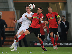 30.09.2018, 1.BL, 1. Bundesliga, FC Augsburg vs SC Freiburg, WWK Arena Augsburg, Fussball, Sport , im Bild:...Michael Gregoritsch(FC Augsburg) vs Nicolas Hoefler (SC Freiburg) und Mike Frantz (SC Freiburg)..DFL REGULATIONS PROHIBIT ANY USE OF PHOTOGRAPHS AS IMAGE SEQUENCES AND / OR QUASI VIDEO...Copyright: Philippe Ruiz..Tel: 089 745 82 22.Handy: 0177 29 39 408.e-Mail: philippe_ruiz@gmx.de. (Credit Image: © Philippe Ruiz/Xinhua via ZUMA Wire)